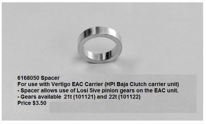 6168050 Losi 5ive to EAC Pinion Adapter - Click Image to Close