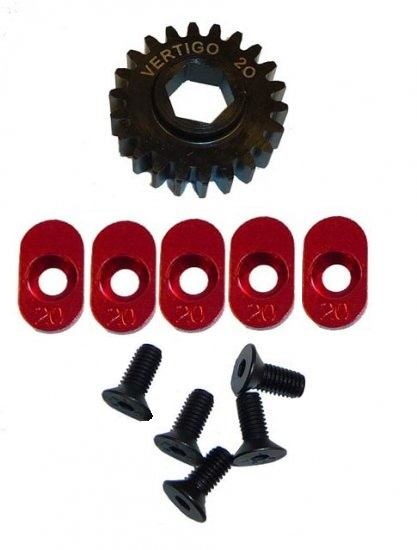 100920 Steel pinion gear w/5 - 20t inserts (Hex Drive Losi) 20T - Click Image to Close